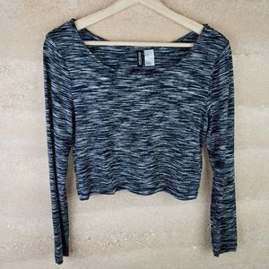 Divided Crop top Sz M Black Long Sleeve